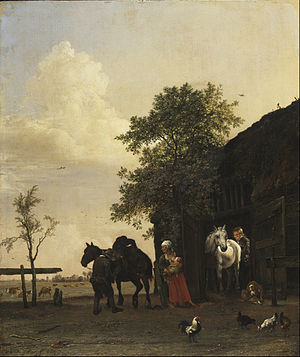 Paulus Potter - Image: Paulus Potter Figures with Horses by a Stable Google Art Project