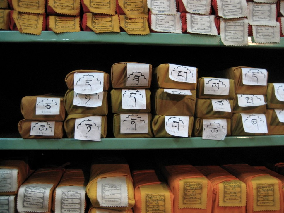 Pejas, scriptures of Tibetan Buddhism, at a library in Dharamsala