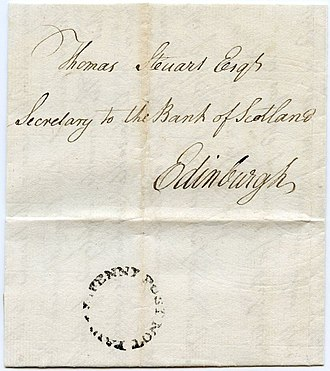 """Peter Williamson (memoirist) - 1774 entire wrapper posted in Peter Williamson's postal service with """"E. Penny Post Not Paid"""" circular handstamp in black ink on the reverse"""