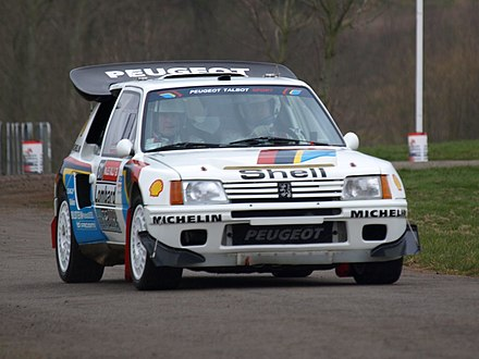Peugeot 205 Turbo 16, 1985 and 1986 winner of the World Rally Championship Peugeot 205 Turbo 16 - Race Retro 2008 01.jpg