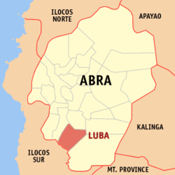 Map of Abra showing the location of Luba