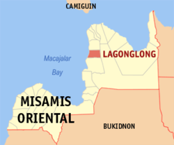 Map of Misamis Oriental with Lagonglong highlighted
