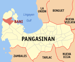 Map of Pangasinan showing the location of Bani