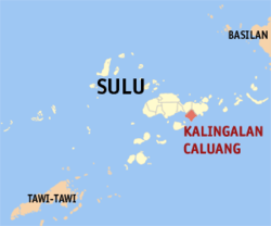 Map o Sulu showin the location o Kalingalan Caluang