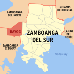 Map of Zamboanga del Sur with Bayog highlighted