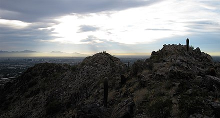 Midtown Phoenix is visible to the left in this view from the Phoenix Mountain Preserve, December 2010. Phoenix panorama.jpg