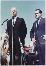 Gerald Ford and Richard Nixon speak in support of Goldwater on the campaign trail
