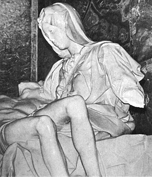 Pietà (Michelangelo) - A detail view of the damaged statue, May 1972.