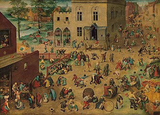 Buck buck - Children's Games (1560) by Pieter Bruegel the Elder, shows five boys playing buck buck in the bottom right hand corner of the painting.