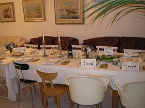 English: Passover Seder Table, Jewish holidays...