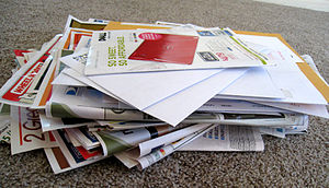 USPS Post Office Box Lobby Recycling program - A pile of junk mail