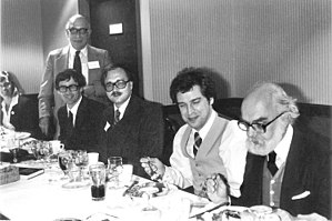 Philip J. Klass - 1983 CSICOP Conference in Buffalo, NY. Note: Randi's fork is bent. With Pip Smith, Klass (standing), Dick Smith, Robert Sheaffer, John Merrell, and James Randi