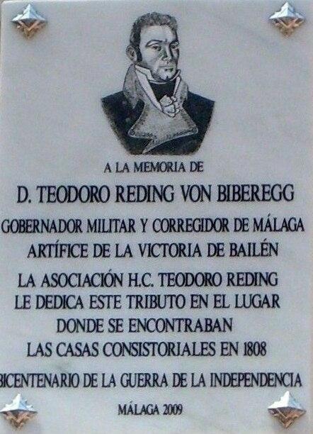 Placa General Teodoro Reding Málaga