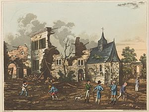Hougoumont - The interior of Hougoumont, reduced nearly to a heap of ruins, by C. C. Hamilton engraved by  James Rous.