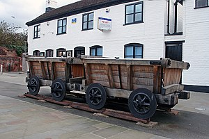 Gloucester and Cheltenham Tramroad - Replica wagons on a section of original track at Gloucester Docks