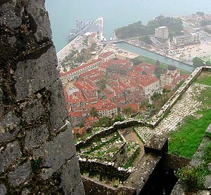 Fortifications of Kotor - View of old Kotor from the ramparts.