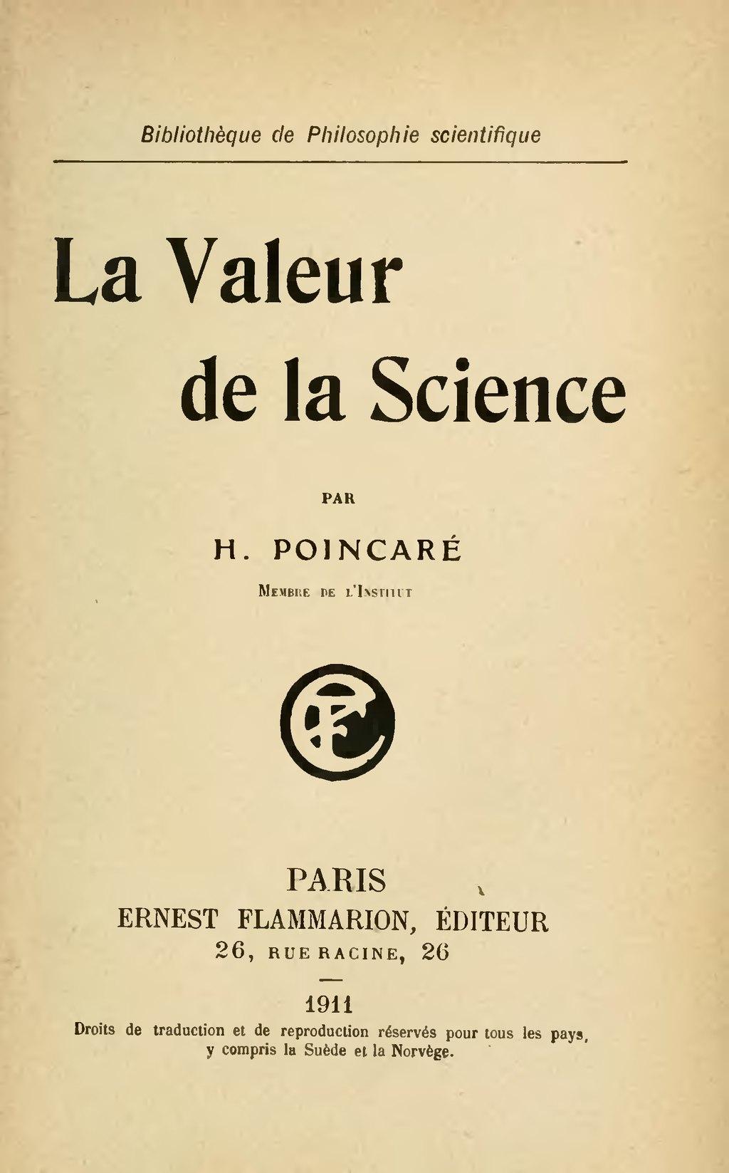 """Résultat de recherche d'images pour """"poincaré valeur de la science"""""""