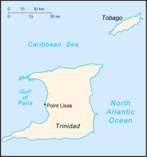 Point Lisas - Location of Point Lisas in Trinidad and Tobago.