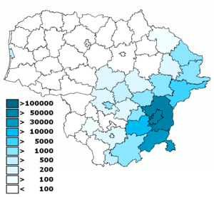 Poles in Lithuania - Number of Poles by municipalities