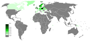 Polish Wikipedia - Polish Wikipedia page view ratio by country in 2011-2012