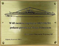 3d27fa66682ff Tablica na budynku Dowództwa Marynarki Wojennej upamiętniająca zatonięcie  ORP