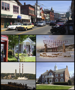 Clockwise from top: a view of shops on Main Street, monument commemorating the village's maritime past, Port Jefferson Village Hall, A ferry passes a local power plant en route to بریجپورت، کنتیکت، Port Jefferson Free Library
