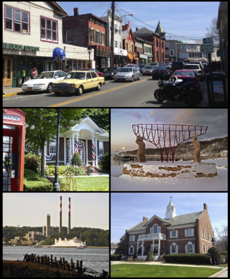 Port Jefferson, New York - Clockwise from top: a view of shops on Main Street, monument commemorating the village's maritime past, Port Jefferson Village Hall, A ferry passes a local power plant en route to Bridgeport, Connecticut, Port Jefferson Free Library