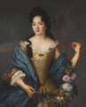 Portrait of a Lady wearing an embroidered dress with a blue shawl, holding a garland of flowers.png