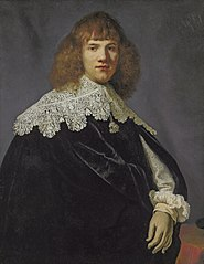 Portrait of a gentleman, half-length, in a black velvet cloak and white lace collar and cuffs