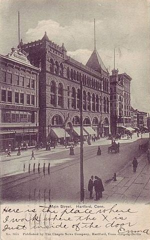 Cheney Building - Image: Postcard Hartford CT Main St G Fox Building 1905