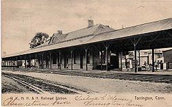 PostcardTorringtonCTRRStation1907