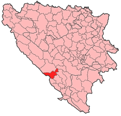 Location of Posušje within Bosnia and Herzegovina.