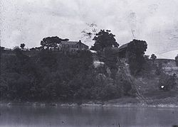 Prairie Bluff, taken from the Alabama River in 1894.  Some buildings and the cotton slide were still present at this time.