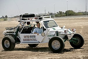 Dune buggy - Former US President George W. Bush in a Border Patrol dune buggy