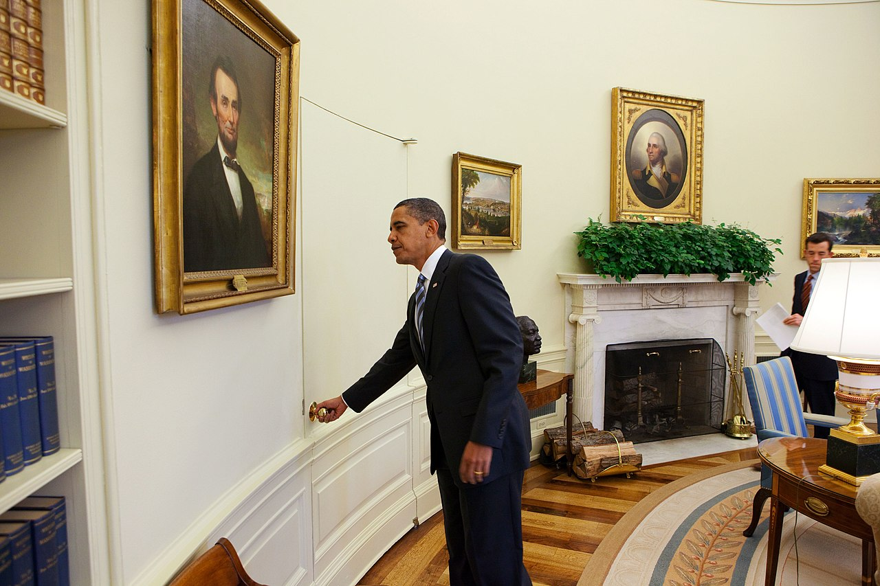 File President Barack Obama Opens The Door Of The Oval