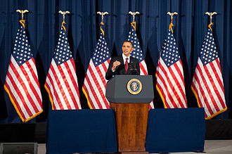 Criticism of United States foreign policy - President Barack Obama speaking on the military intervention in Libya at the National Defense University, March 2011