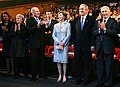 President George W. Bush and Laura Bush are applauded as they attend the Israeli Presidential Conference 2008.jpg