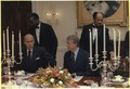 President Giscard d'Estaing of France and Jimmy Carter participate in a working dinner. - NARA - 179591.tif
