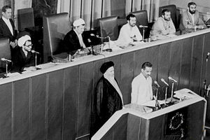 Akbar Hashemi Rafsanjani - Hashemi as parliament chairman in the inauguration of Mohammad-Ali Rajai