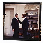 President Ronald Reagan, in the Oval Office, shaking hands with Republican senator Don Nickles of Oklahoma.jpg