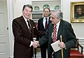 President Ronald Reagan shaking hands with Edward Teller.jpg