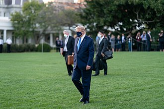 Trump departs the White House for COVID-19 treatment on October 2, 2020 President Trump Boards Marine One (50437670702).jpg