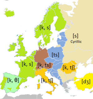 Latin-script alphabet - Image: Pronunciation of C in Europe