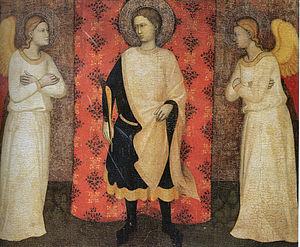 Puccio di Simone - Saint Ansano and two angels