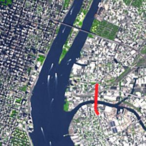 Pulaski Bridge - Pulaski Bridge from above, highlighted in red