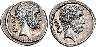 Junia (gens) - Denarius of Marcus Junius Brutus, 54 BC, depicting Lucius Junius Brutus on the obverse, and Gaius Servilius Ahala on the reverse.  Brutus claimed both as ancestors.