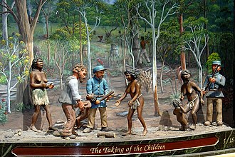 Stolen Generations - A portrayal entitled The Taking of the Children on the 1999 Great Australian Clock, Queen Victoria Building, Sydney, by artist Chris Cook.