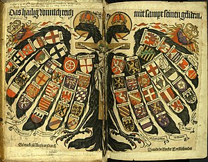 Coats of arms of the Holy Roman Empire - The Quaternion Eagle, hand-coloured woodcut (c. 1510) by Hans Burgkmair.