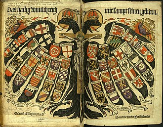 Holy Roman Empire - Double-headed eagle with coats of arms of individual states, the symbol of the Holy Roman Empire (painting from 1510)