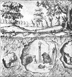 Fire-setting - Fire-setting in an underground tin mine